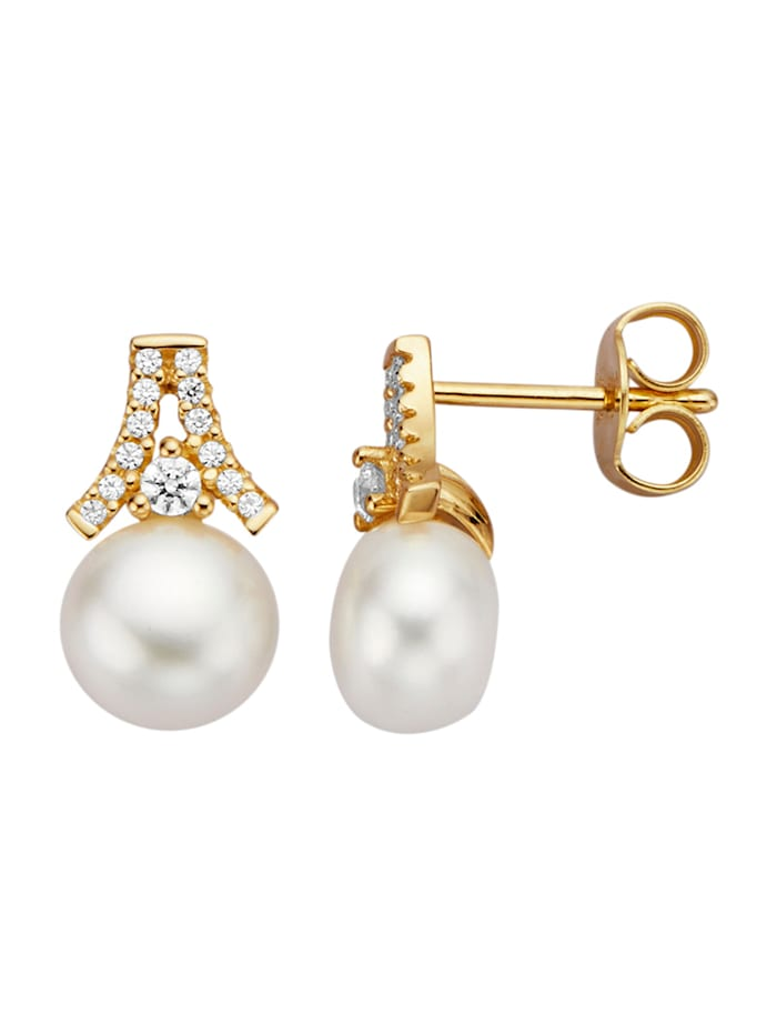 Diemer Perle Boucles d'oreilles avec perles de culture d'eau douce, Blanc