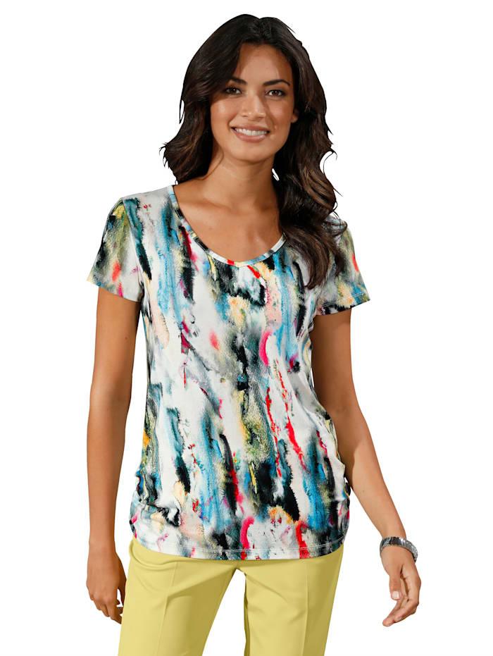 AMY VERMONT Shirt met kleurverloop rondom, Offwhite/Limoengroen/Pink