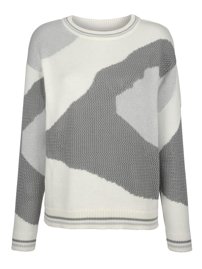 AMY VERMONT Pullover mit grafischem Muster, Off-white/Grau