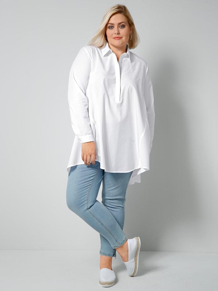 Sara Lindholm Blouse met korte, blinde knoopsluiting, Wit