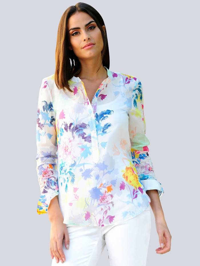 Alba Moda Bluse im farbenfrohen Blütendessin, Weiß/Blau/Pink/Gelb