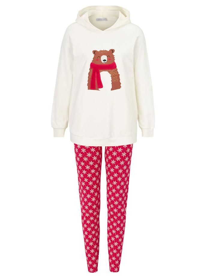 Lisca Pyjama, Rot/Creme-Weiß