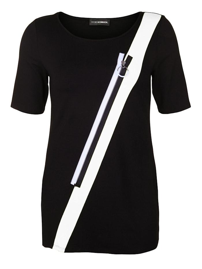 Doris Streich Tunika mit schräger Applikation, schwarz/weiß