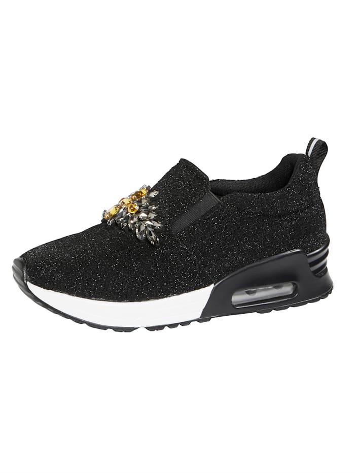 Liva Loop Sneaker in Glitter-Optik, Schwarz