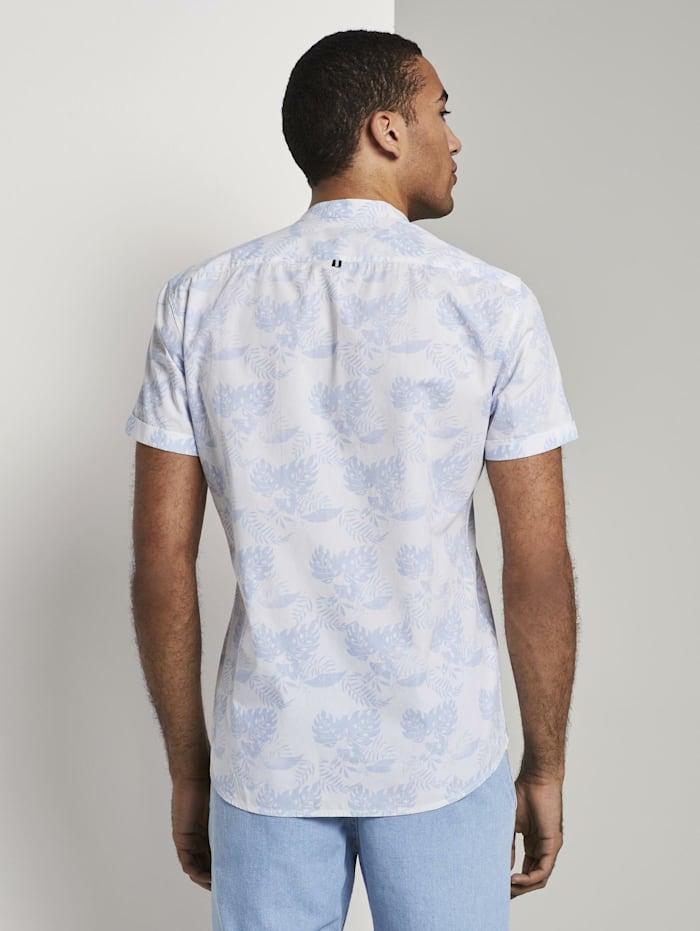 Gemustertes Kurzarm-Hemd mit kurzem Stehkragen