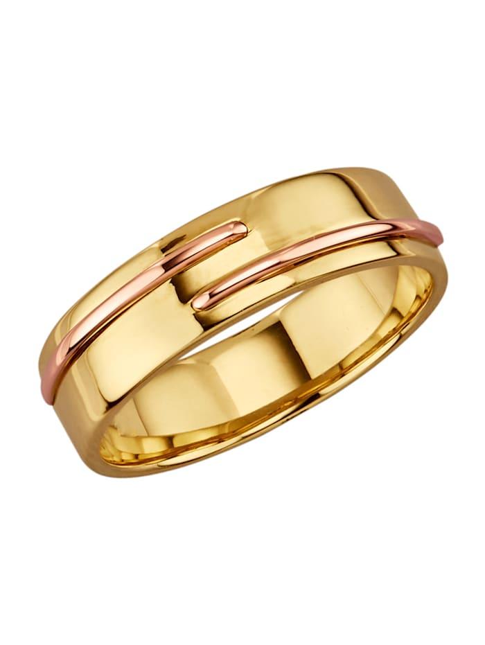 Amara Or Bague en or jaune et or rose 585, Jaune