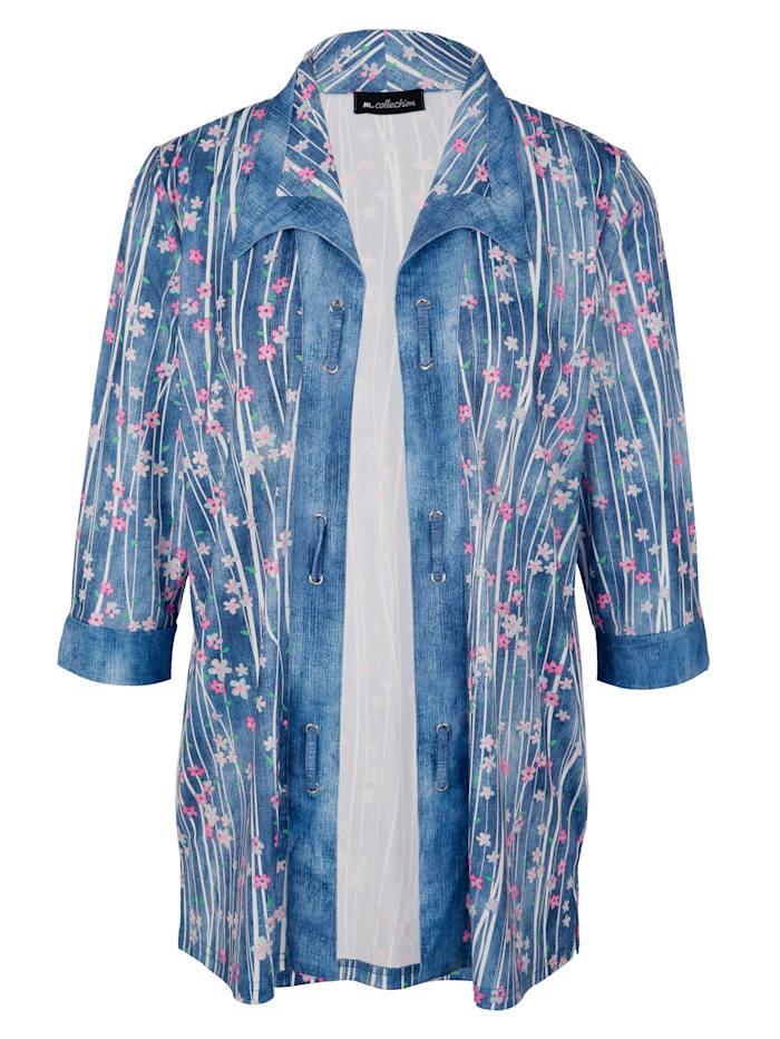 m. collection Shirtjacke mit Blumen- und Streifenmuster, Blau/Multicolor