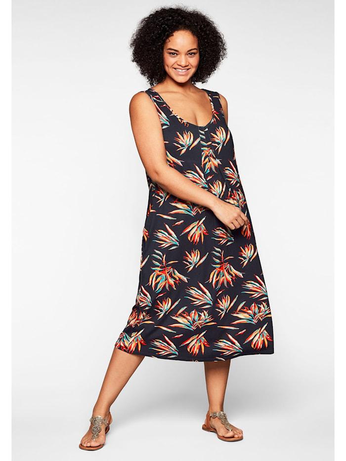 Sheego Strandkleid in ärmelloser Form, mit Faltendetails, marine bedruckt
