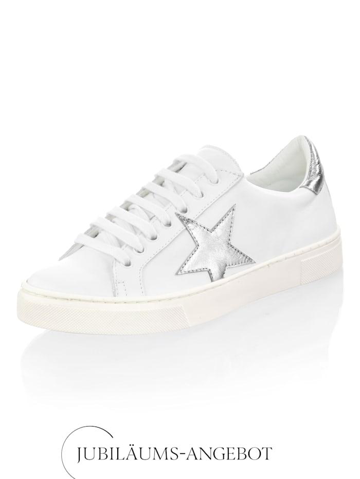Alba Moda Sneaker mit Stern-Applikation, Weiß/Silberfarben