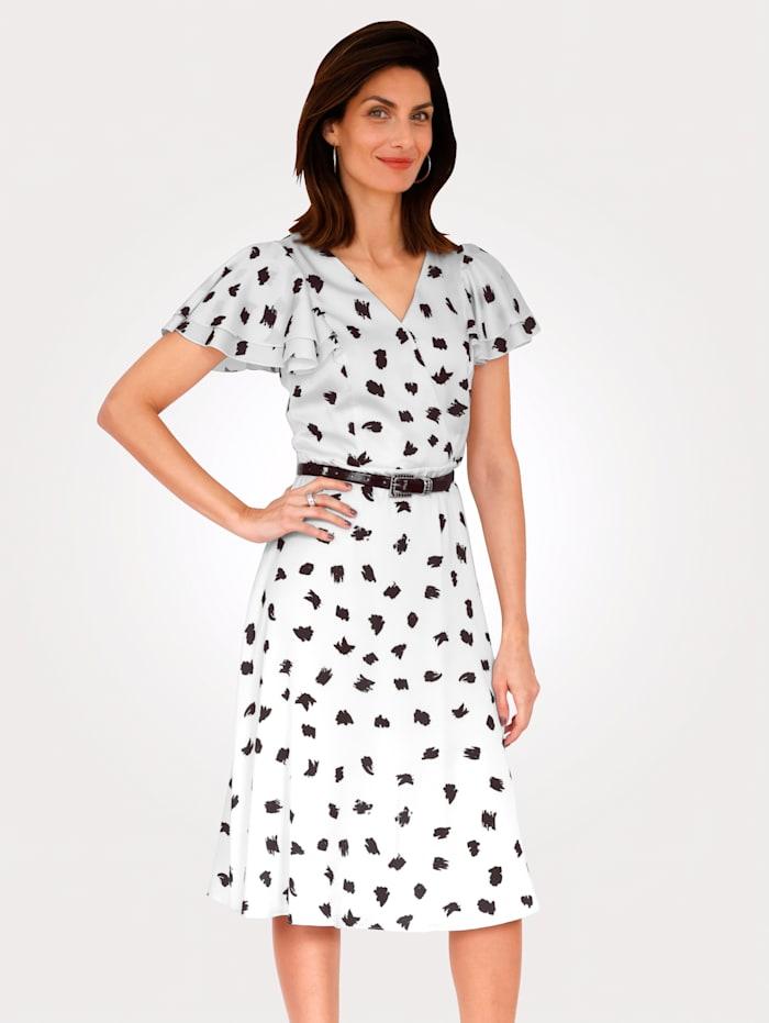 MONA Kleid mit gepunkteten Druck, Schwarz/Weiß