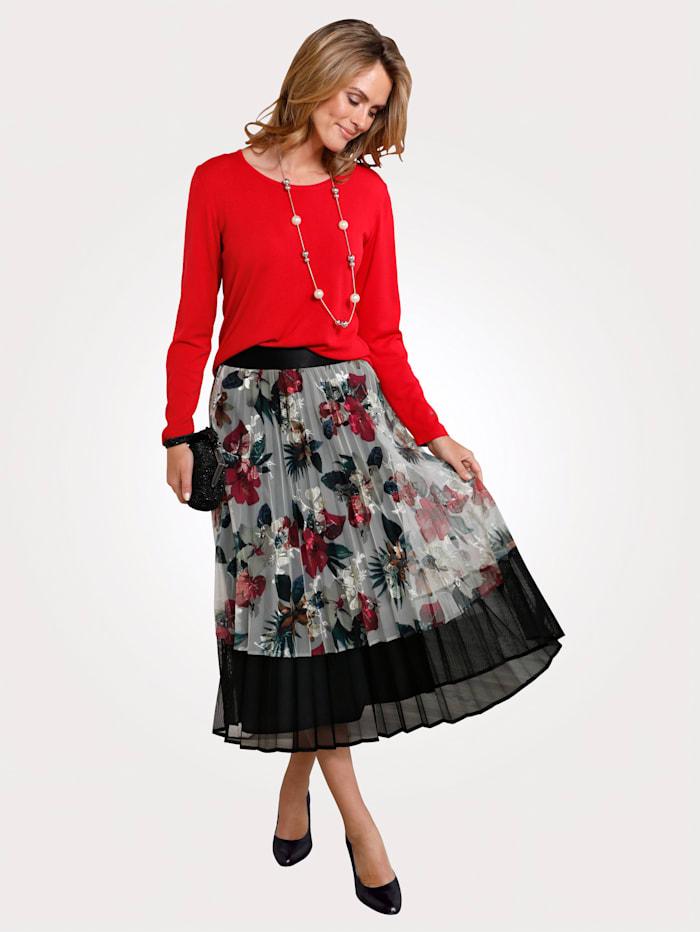 MONA Skirt in a floral print, Ecru