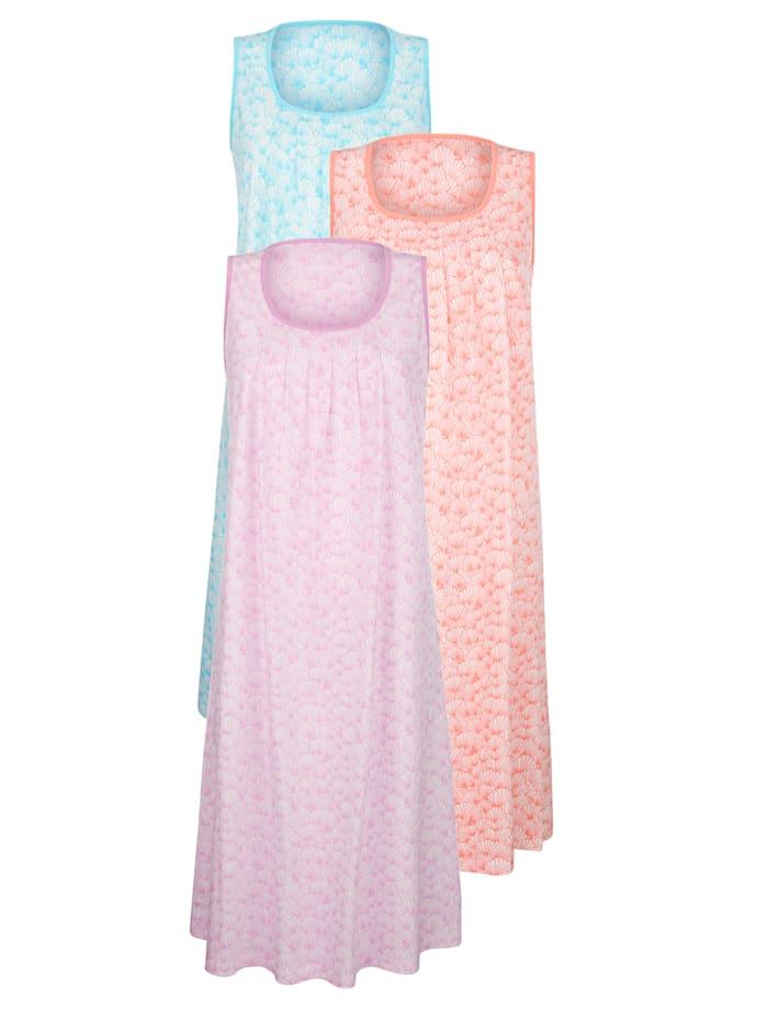 Harmony Lot de 3 chemises de nuit à passepoil contrastant, Rose clair/Turquoise/Abricot