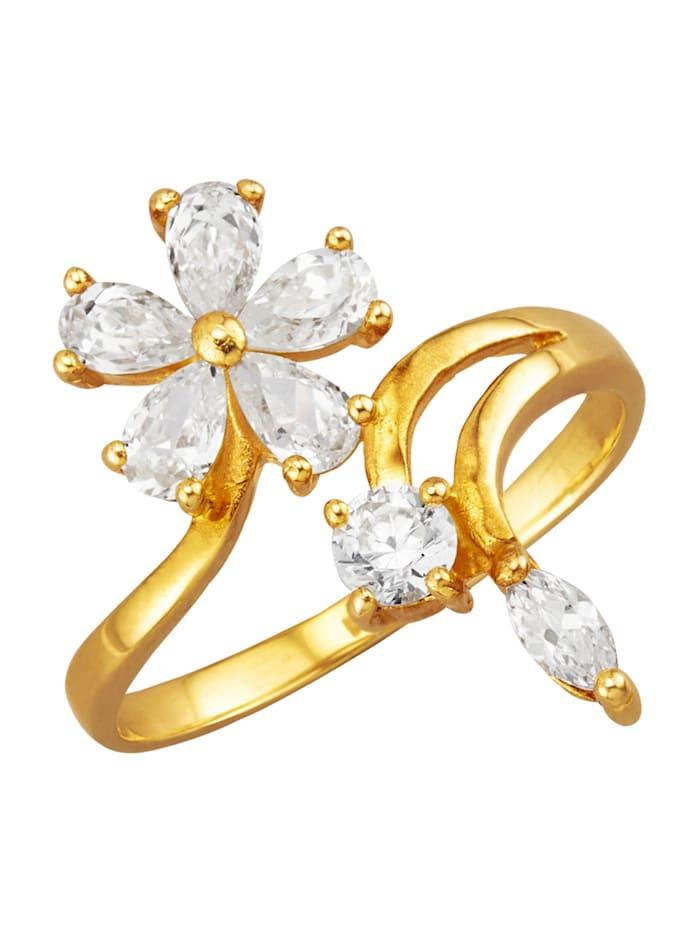 Golden Style Damesring met 7 witte synth. zirkonia's, Wit
