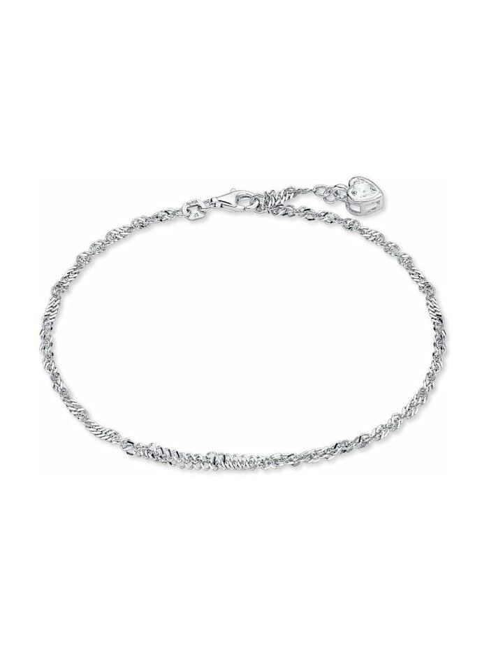 amor Fußkette für Damen, Sterling Silber 925, Zirkonia Herz, Silber