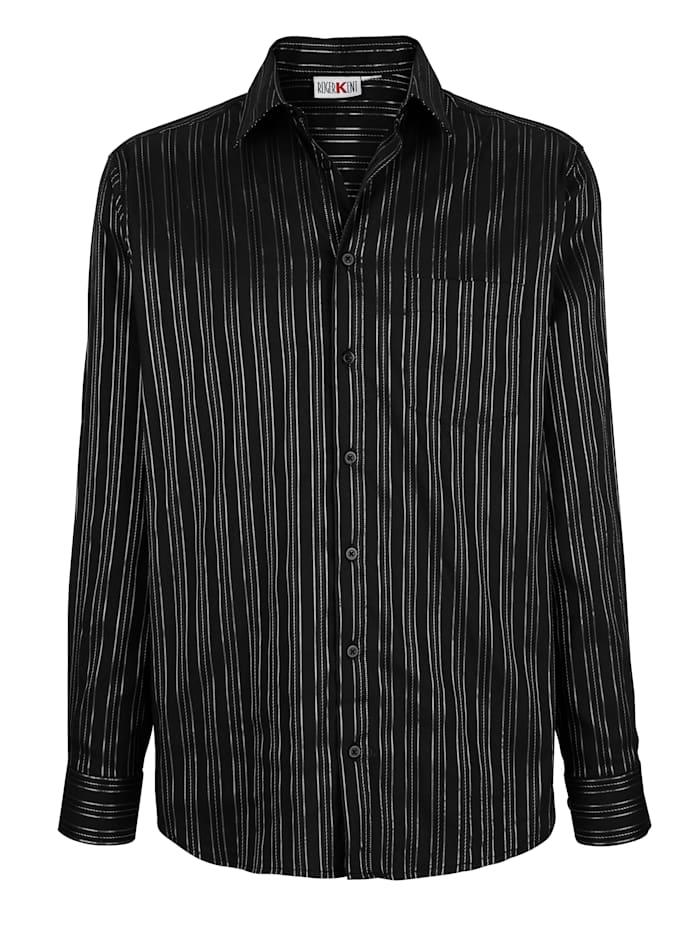 Roger Kent Overhemd met glansstrepen, Zwart/Zilverkleur