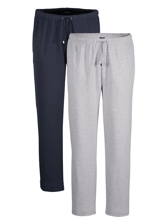 BABISTA Lot de 2 pantalons de loisirs Taille entièrement extensible, Marine/Gris