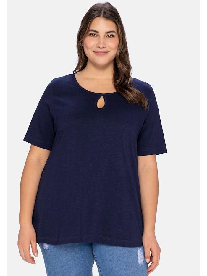 Sheego T-Shirt aus leichter Flammgarnqualität, marine