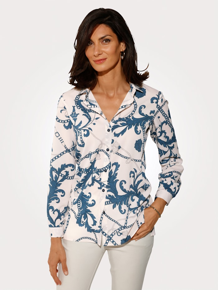 MONA Bluse in fließender Crèpe-Qualität, Ecru/Blau