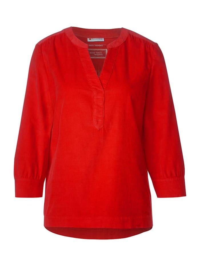 Street One Bluse in Cord-Optik, blazing red