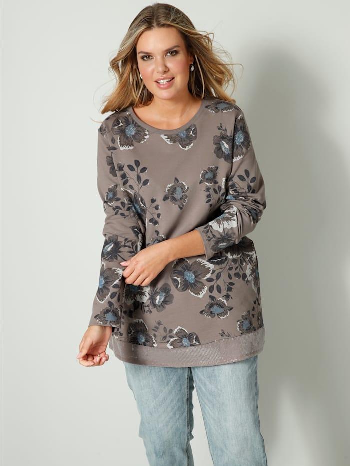 Janet & Joyce Sweatshirt met pailletten aan de zoom voor, Taupe