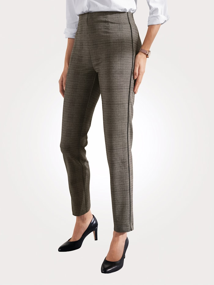 Relaxed by Toni Pull-on trousers in a glen check pattern, Beige/Black