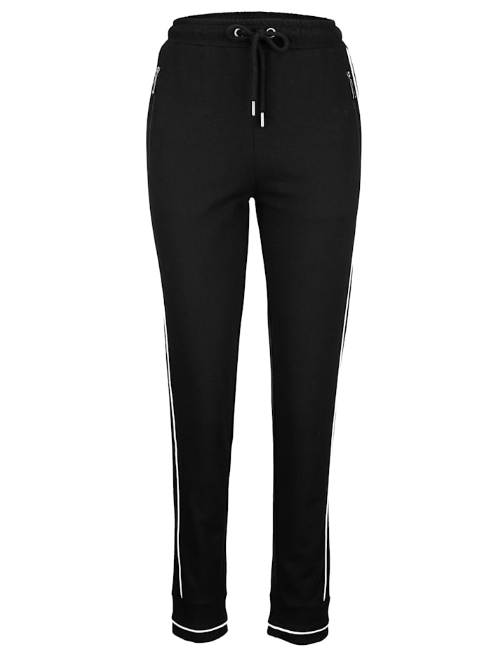 Harmony Freizeithose mit sportlicher Kontrastpaspelierung, Schwarz/Weiß