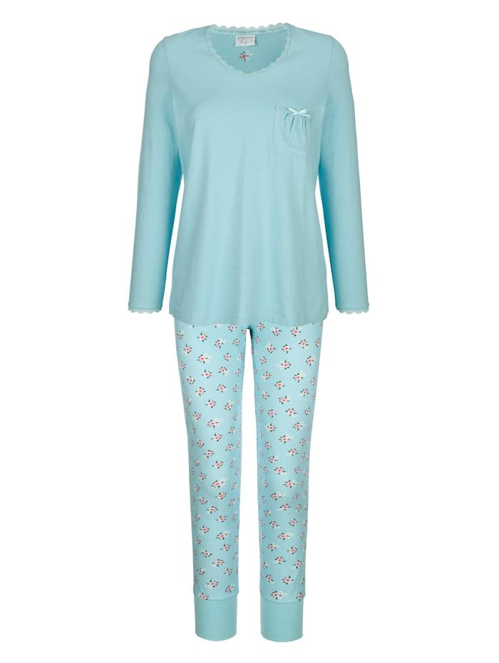 Ringella Pyjama met romantische details van kant, Mint/Roze/Ecru
