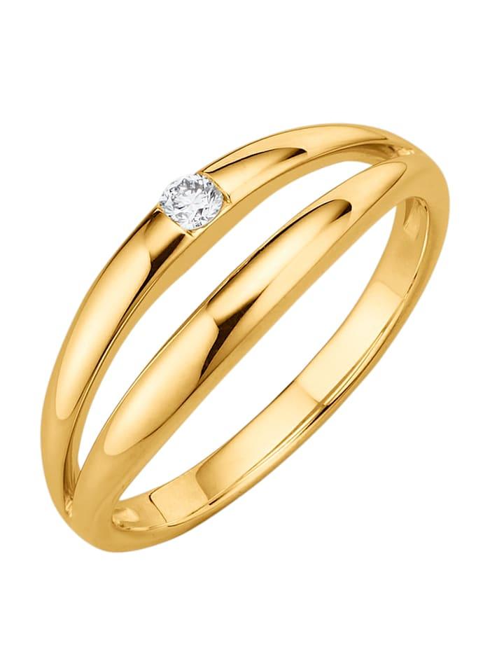 Diemer Highlights Damenring mit Diamant, Gelbgoldfarben