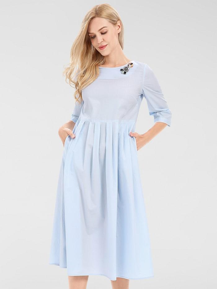 APART Kleid mit breitem Rundhalsausschnitt, hellblau