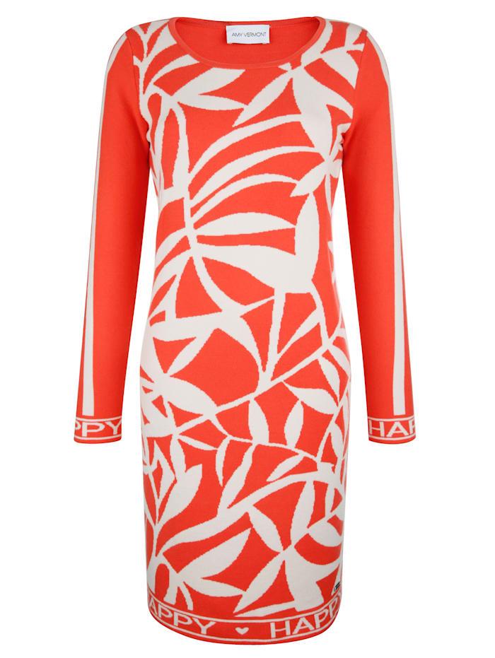 AMY VERMONT Strickkleid mit Blätter-Muster, Orange/Beige