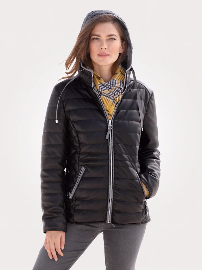 MONA Jacke aus Lederimitat, Schwarz/Grau