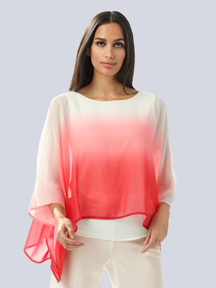 Alba Moda Bluse mit modischem Farbverlauf, Koralle/Off-white