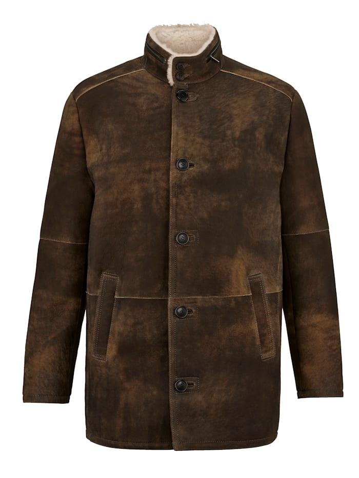 Babista Premium Veste en cuir en cuir d'agneau ciré, Marron