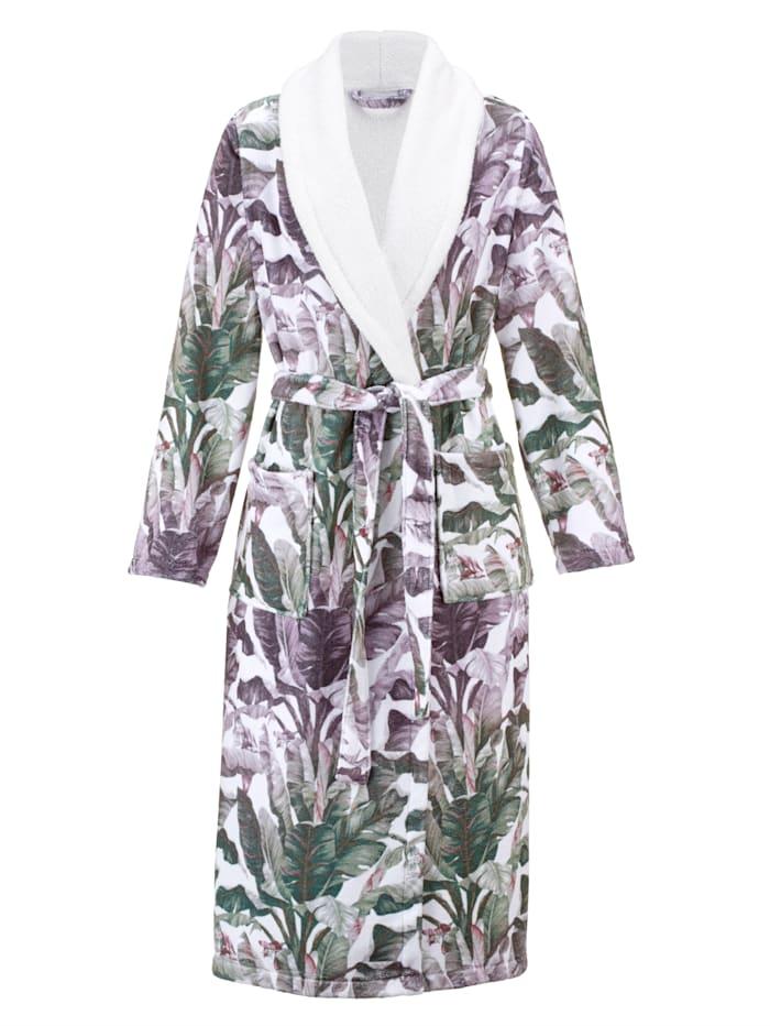 Harmony Badjas met haarhanddoek en pantoffels Set, wit/groen/prune