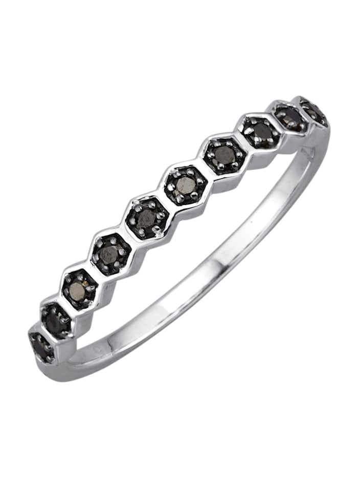 Damesring met zwarte diamanten, Witgoudkleur