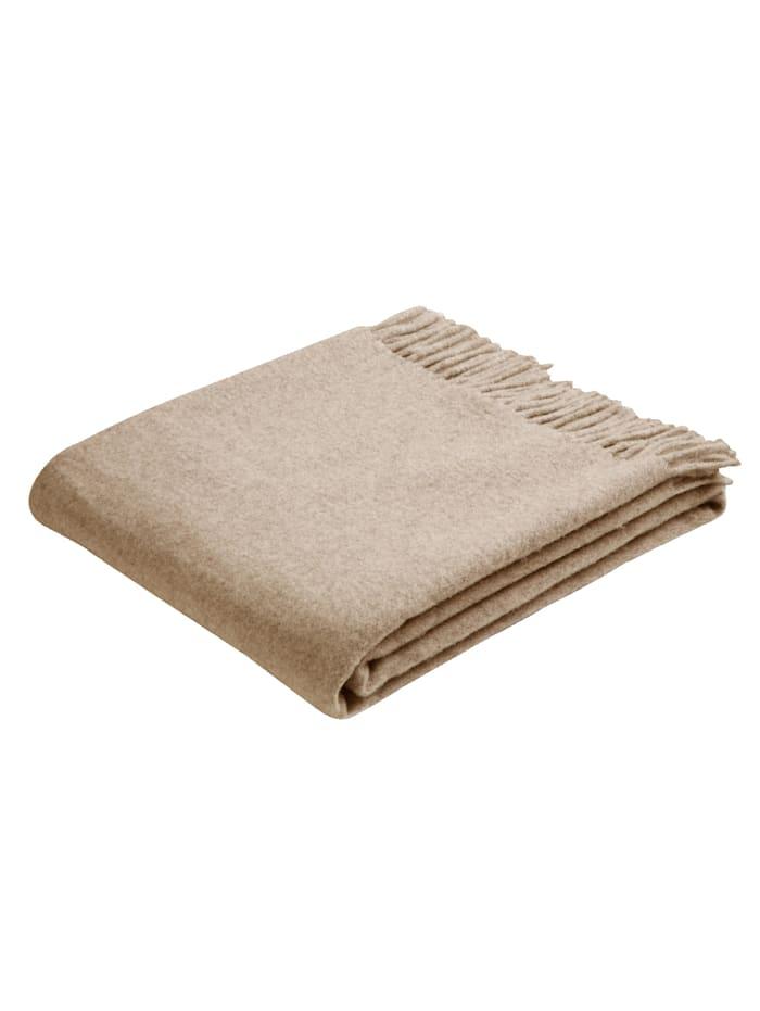 biederlack Schurwoll-Plaid, Beige Wool