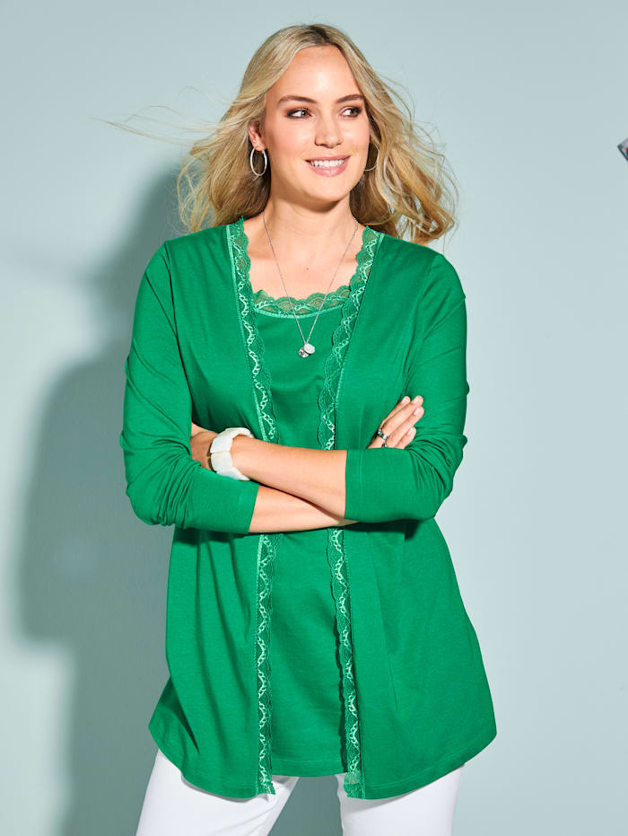 MIAMODA 2-in-1 Shirtjacke mit Spitzenabschlüssen, Grün