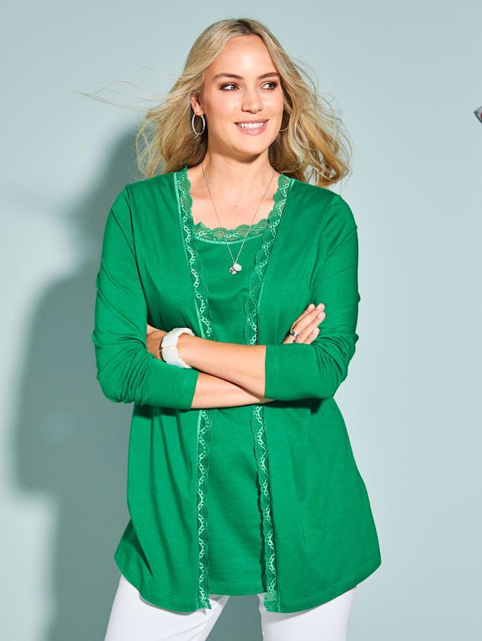 MIAMODA Kerrostyylinen paita pitsireunoin, Vihreä