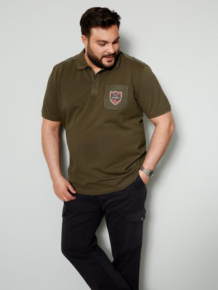 Men Plus Poloshirt aus reiner Baumwolle, Oliv