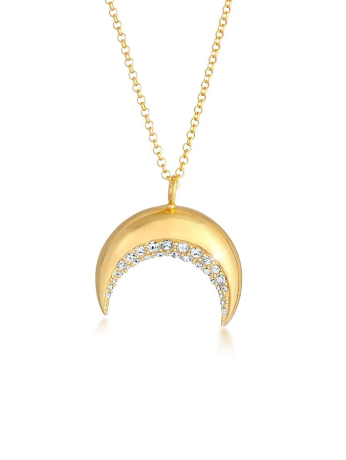 Elli Halskette Sichel Halbmond  Kristalle 925 Silber, Gold