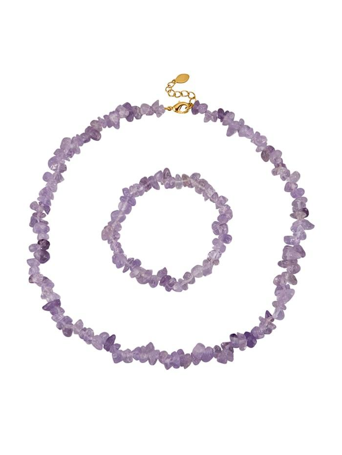 Parure de bijoux 2 pièces avec améthystes, Lilas