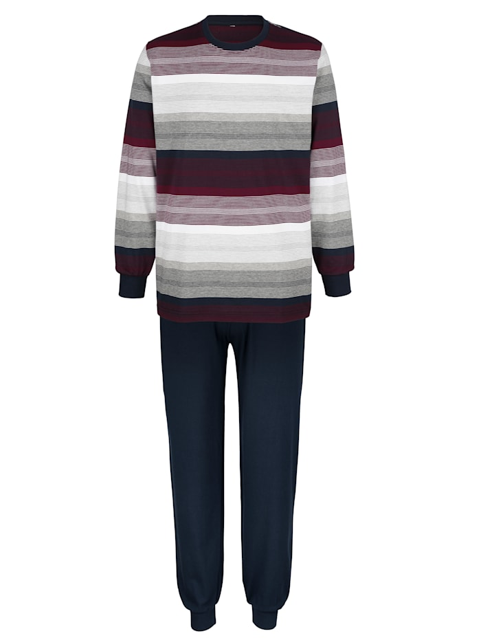 G Gregory Schlafanzug mit garngefärbten Streifen, Marineblau/Bordeaux