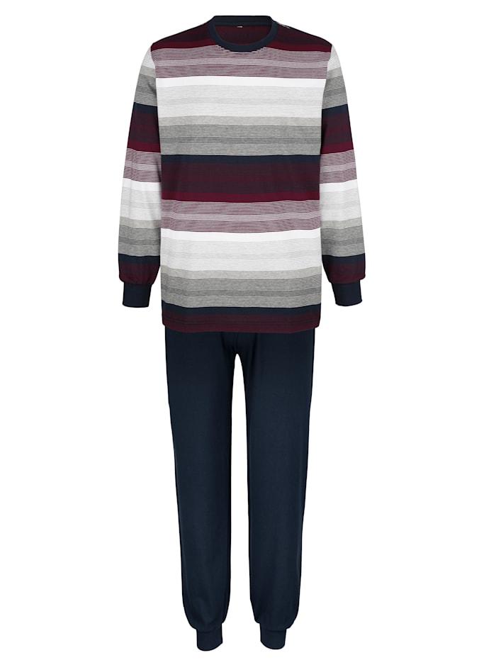Schlafanzug mit garngefärbten Streifen, Marineblau/Bordeaux