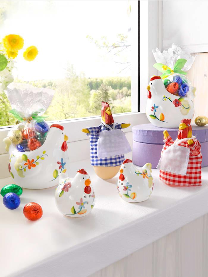 Pfeiffer & Sperl Set med äggkoppar fyllda med små chokladägg, Flerfärgad