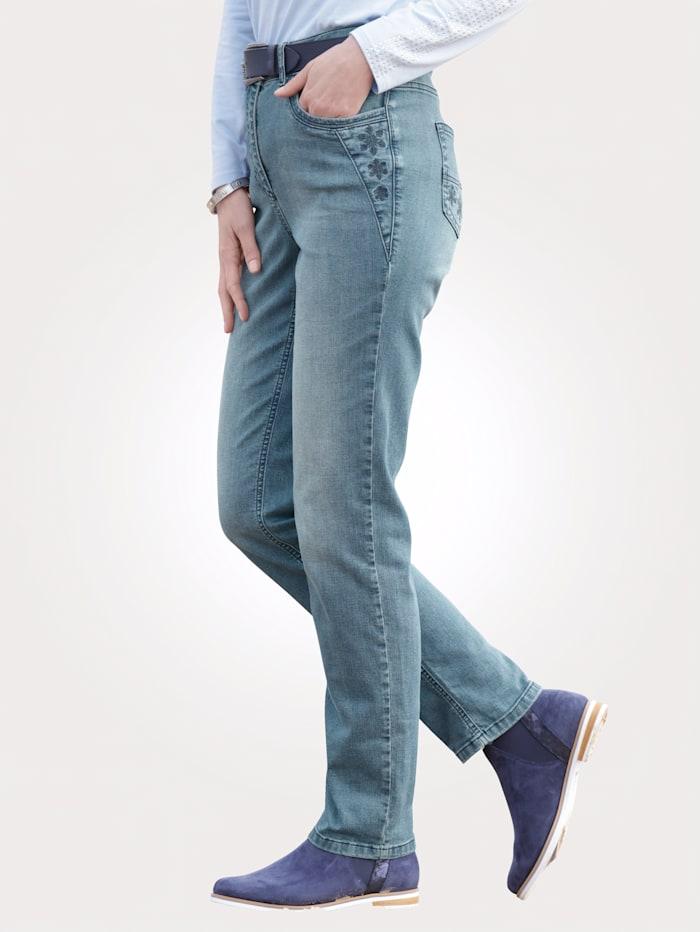MONA Jeans in modischer Used- Waschung, Blau