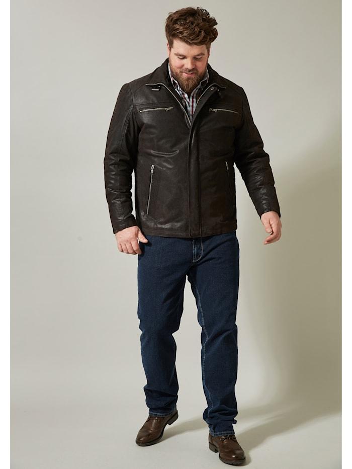 Men Plus Leren jas, Donkerbruin