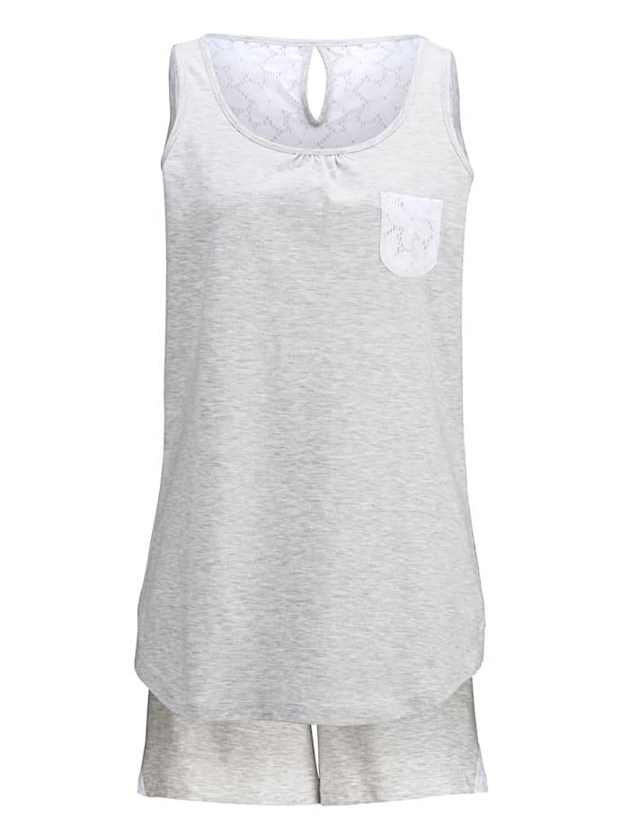 Simone Shortama met zomerse inzet van kant, grijs gemêleerd/wit