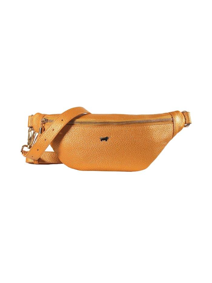 Braun Büffel Gürteltasche ALESSIA aus genarbtem Rindleder, amber
