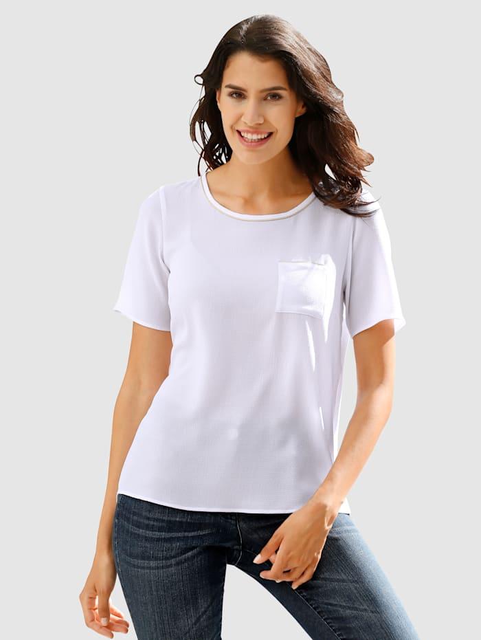 Dress In Bluse mit Glanzgarndetails, Weiß