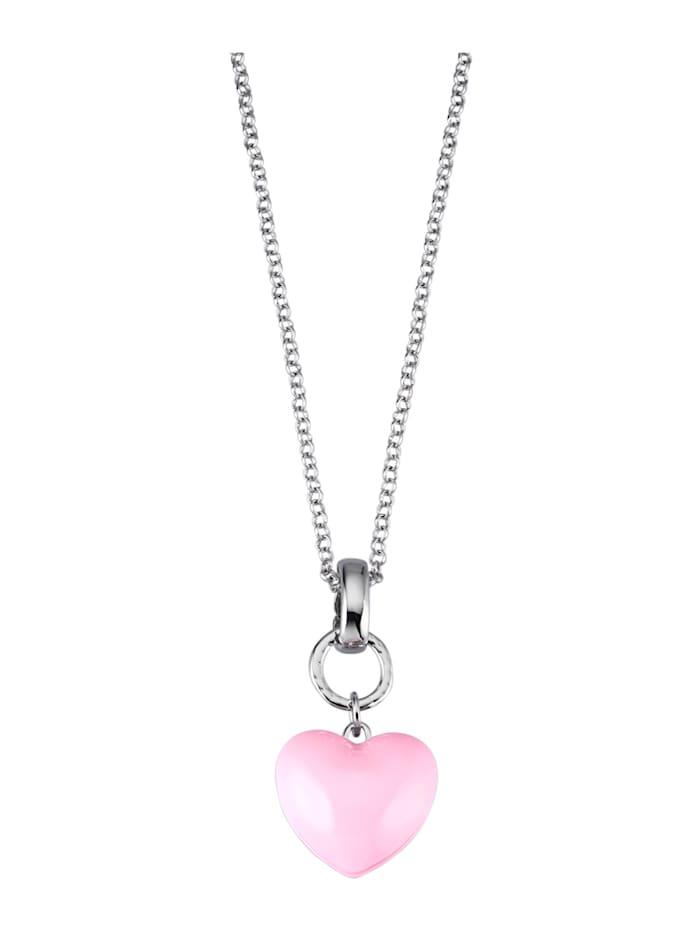 Vaaleanpunainen sydänriipus ja ketju, Roosa
